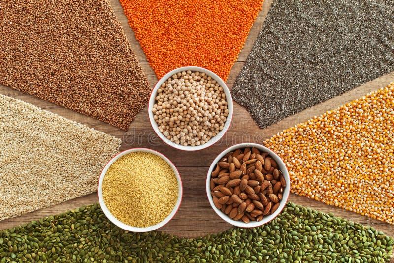 Färgrika korn och frö - sund prima variationshäftklammermat arkivbild