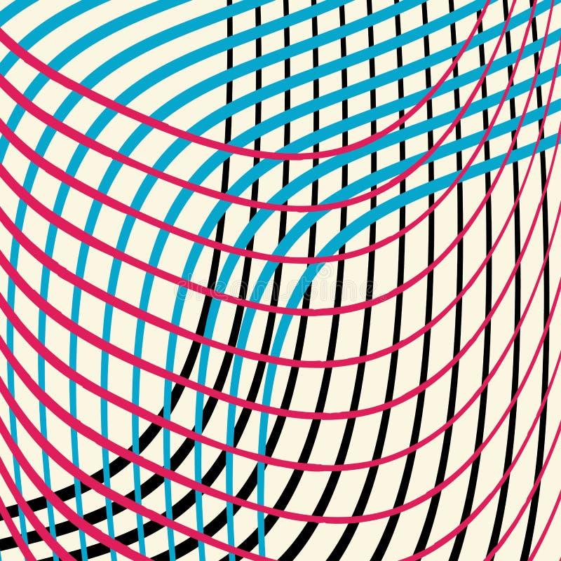 Färgrika krabba linjer i en abstrakt bakgrund planlägger vektorn i vågor av röd blå svart och av vit stock illustrationer