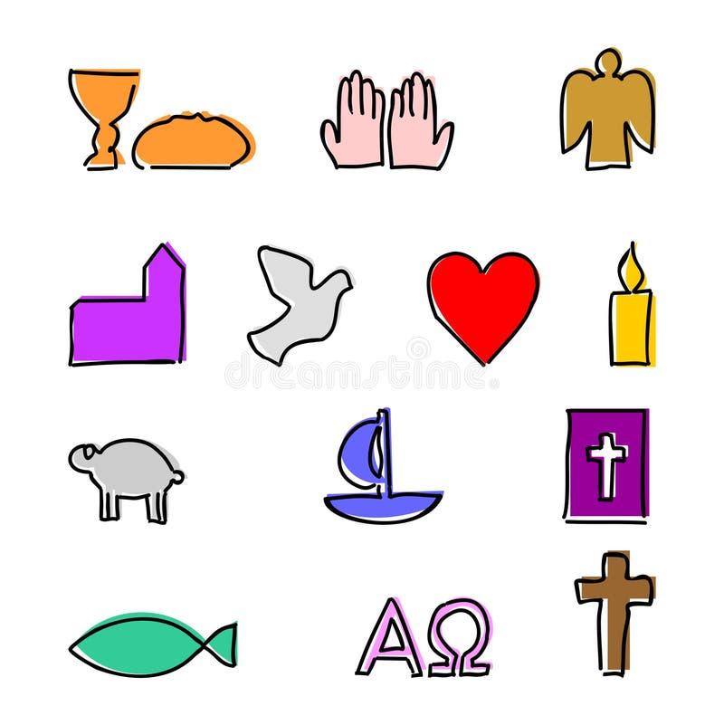 Färgrika kristna symboler med översikten stock illustrationer