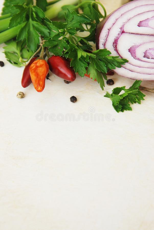 Färgrika kryddor för grönsaker för matingredienser, dill, gräsplan, lök Bakgrund för matingrediens för mat som Blogging kopiera a royaltyfri fotografi