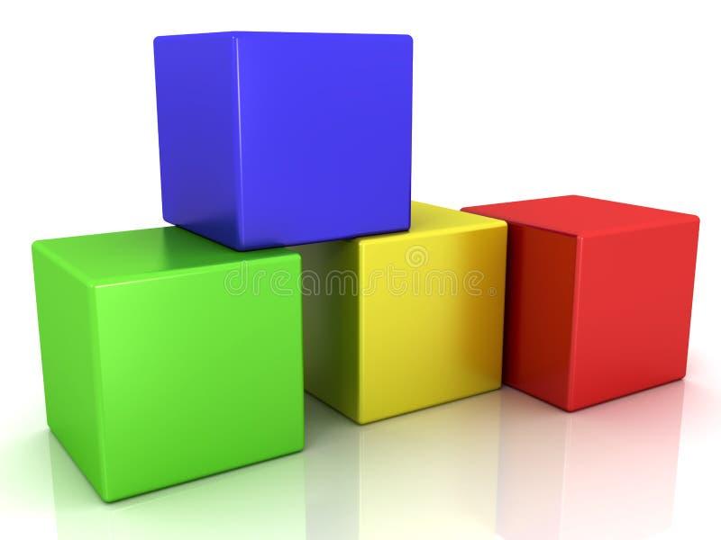 färgrika kuber 3d vektor illustrationer