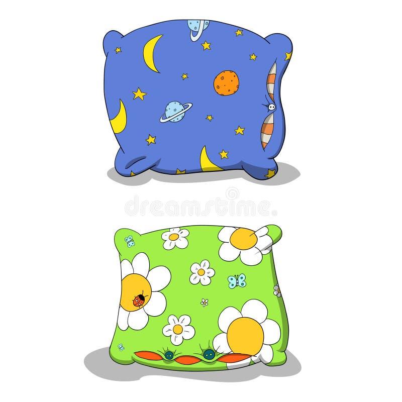 färgrika kuddar stock illustrationer