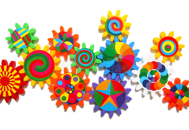färgrika kugghjul royaltyfria bilder