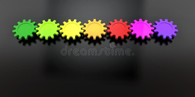 Färgrika kugghjul i rad stock illustrationer
