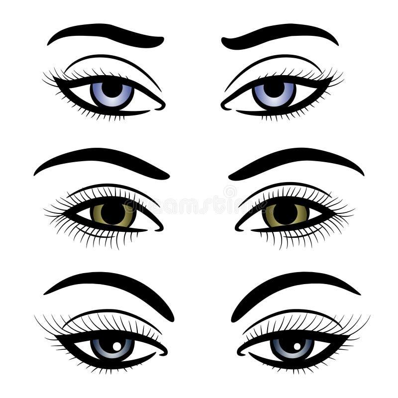 Färgrika kvinnligögon och krön vektor illustrationer