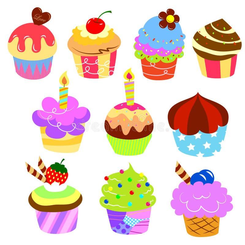Färgrika läckra cakes royaltyfri illustrationer