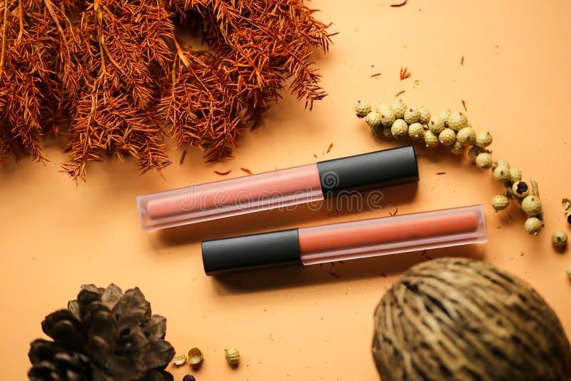 Färgrika läppstift för mode, yrkesmässig makeup och skönhet Lipsti royaltyfri fotografi