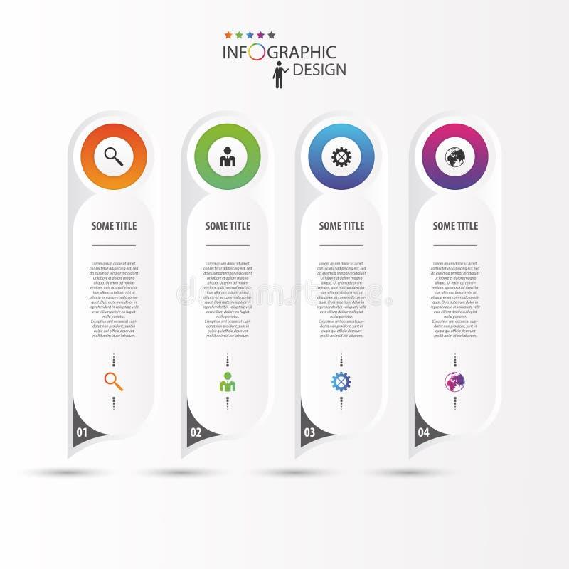 Färgrika långa rundade klistermärkear med symboler infographic begrepp stock illustrationer