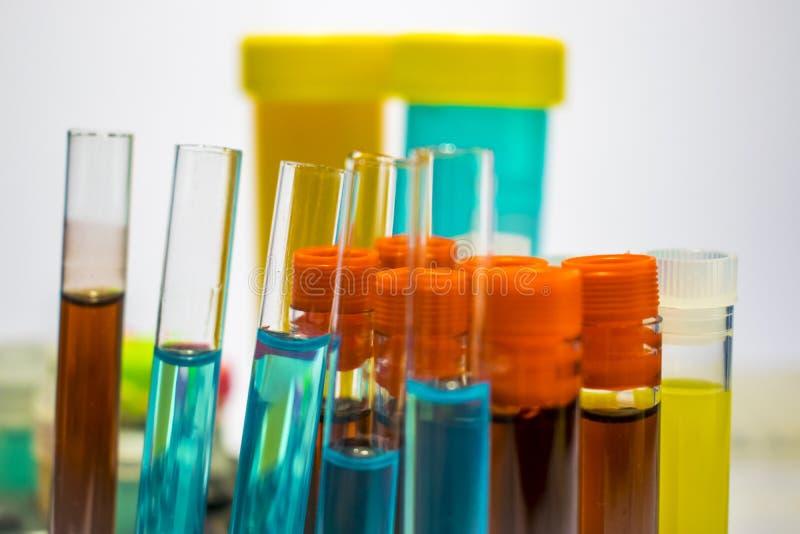Färgrika laboratoriumprovrör, biokemiblodprov, urinprov, provrör, medicinsk analys, forskningbegrepp, fertilitet r arkivfoton