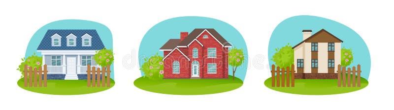 Färgrika landshus, privata sektorer hem, gästhem, sommarranch royaltyfri illustrationer