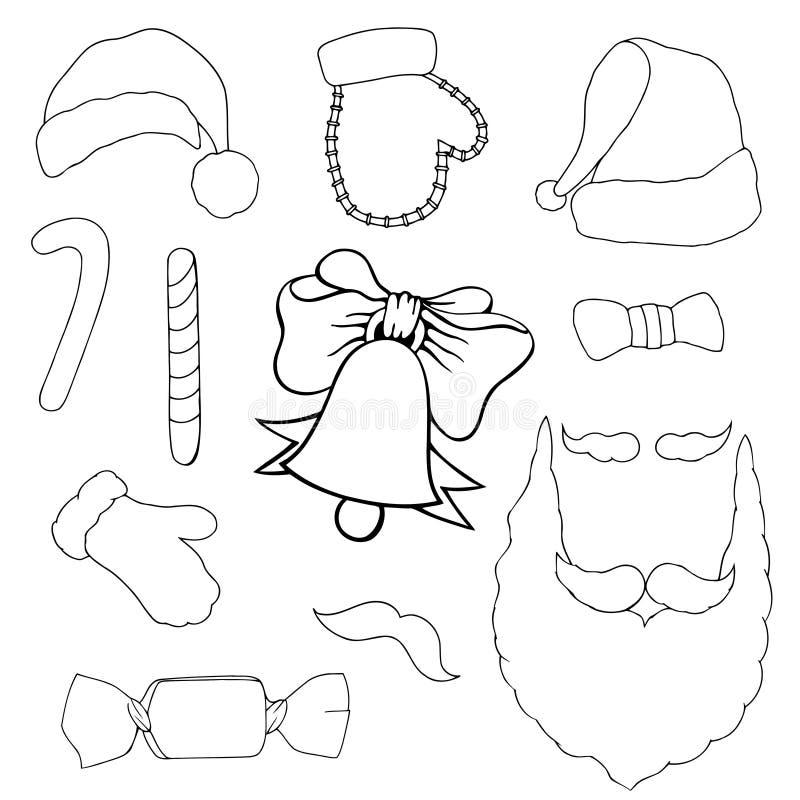 Färgrika lappemblem av olik glad jul stock illustrationer