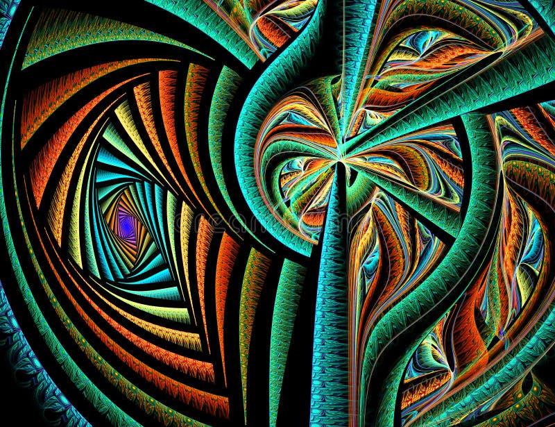 Färgrika linjer för abstrakt fractal på svart bakgrund royaltyfri foto