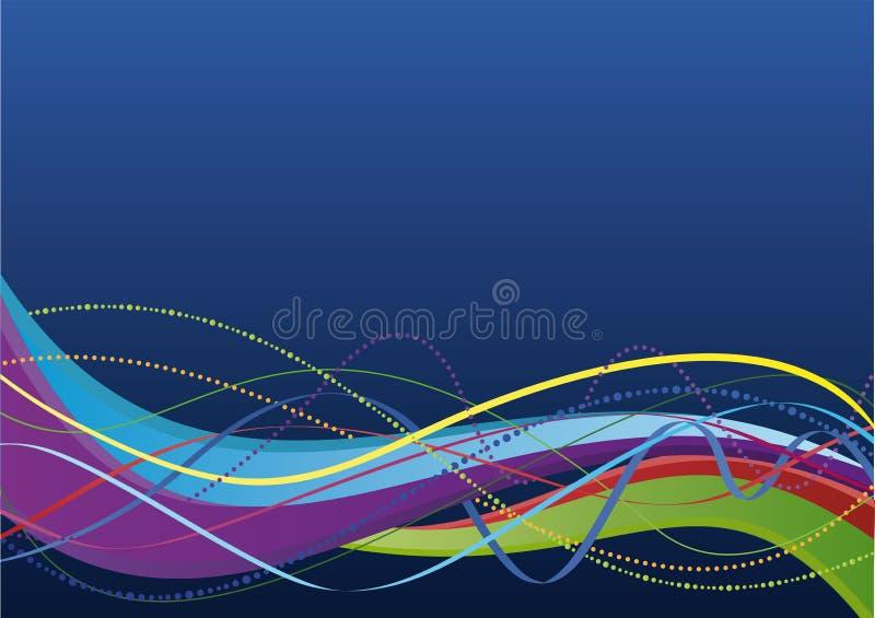 färgrika linjer waves för abstrakt bakgrund royaltyfri illustrationer