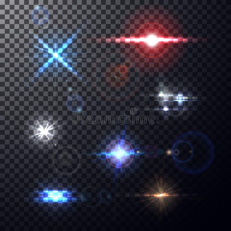 Färgrika linssignalljusstrålar också vektor för coreldrawillustration royaltyfri illustrationer