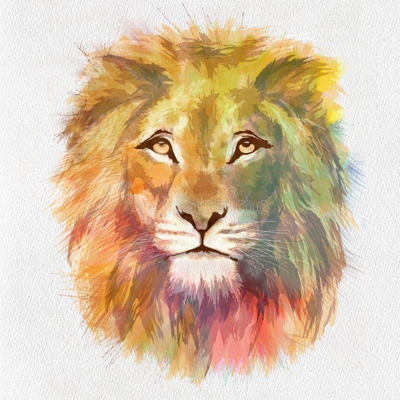 F?rgrika Lion Head Drawn p? papper royaltyfri illustrationer