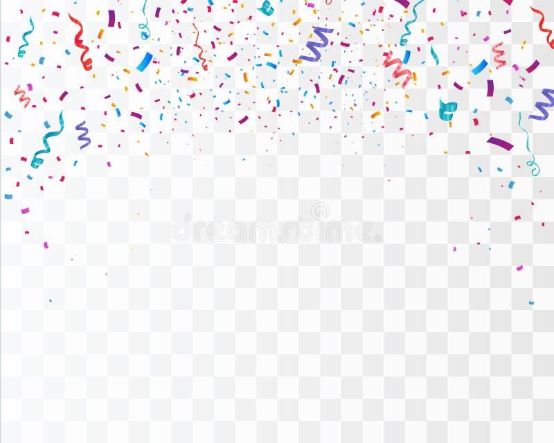 Färgrika ljusa konfettier på genomskinlig bakgrund festlig vektorillustration stock illustrationer