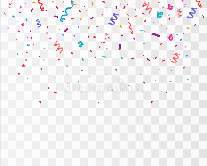 Färgrika ljusa konfettier som isoleras på genomskinlig bakgrund festlig vektorillustration stock illustrationer
