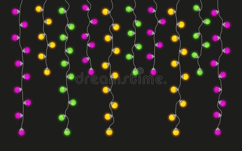 Färgrika ljusa lampgirlander ställde in för den Mardi Gras karnevalet royaltyfri illustrationer
