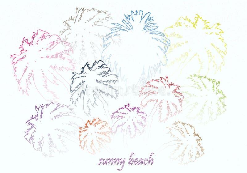 Färgrika ljusa soliga strandpalmträd royaltyfri illustrationer