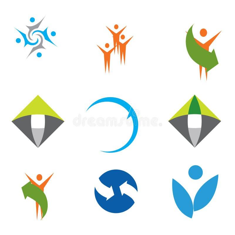 färgrika logoer för samling royaltyfri illustrationer