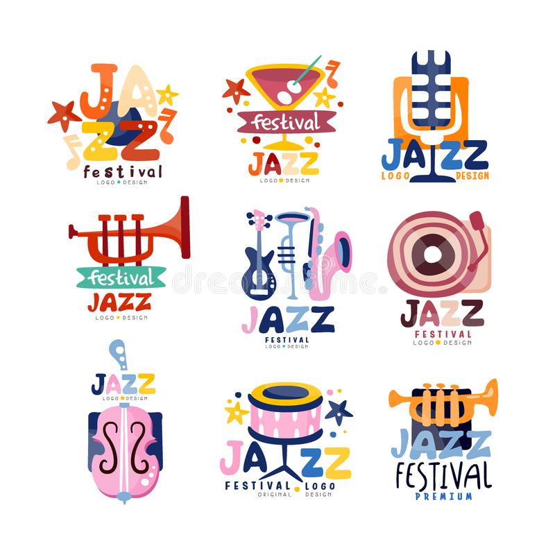 Färgrika logoer ställde in för festival eller direkt konsert för jazz Emblem med gitarren, saxofon, retro spelare, trumpet, mikro royaltyfri illustrationer