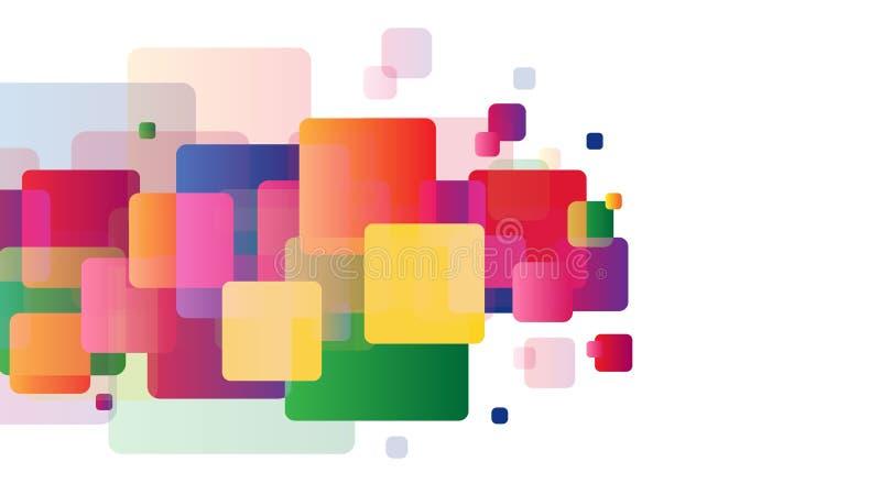 Färgrika lutningfyrkanter på vit bakgrund Affärs-, portfölj- eller orienteringsmall för din design För tryck och rengöringsduk stock illustrationer