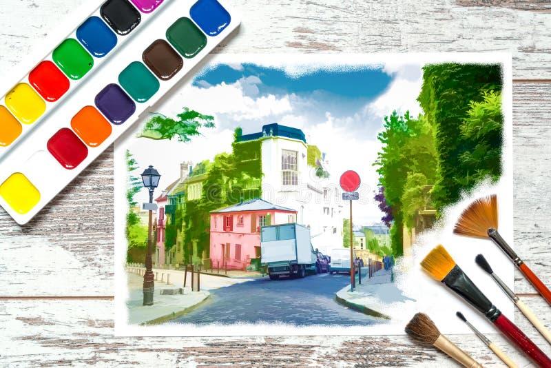 Färgrika målarfärger med borstar och a med en oavslutad färgrik teckning av ett landskap på ett stycke av vitbok, gouache, waterc arkivfoton