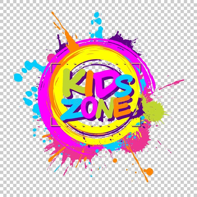 Färgrika målarfärgfärgstänk med ungar zonplanerar emblemet för barnplayg royaltyfri illustrationer