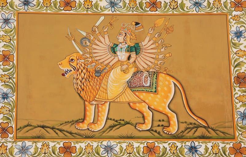 Färgrika målningar på en vägg av det Mehrangarh fortet, Jodhpur, Indien arkivbilder