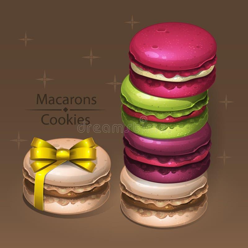 färgrika macaroons stock illustrationer