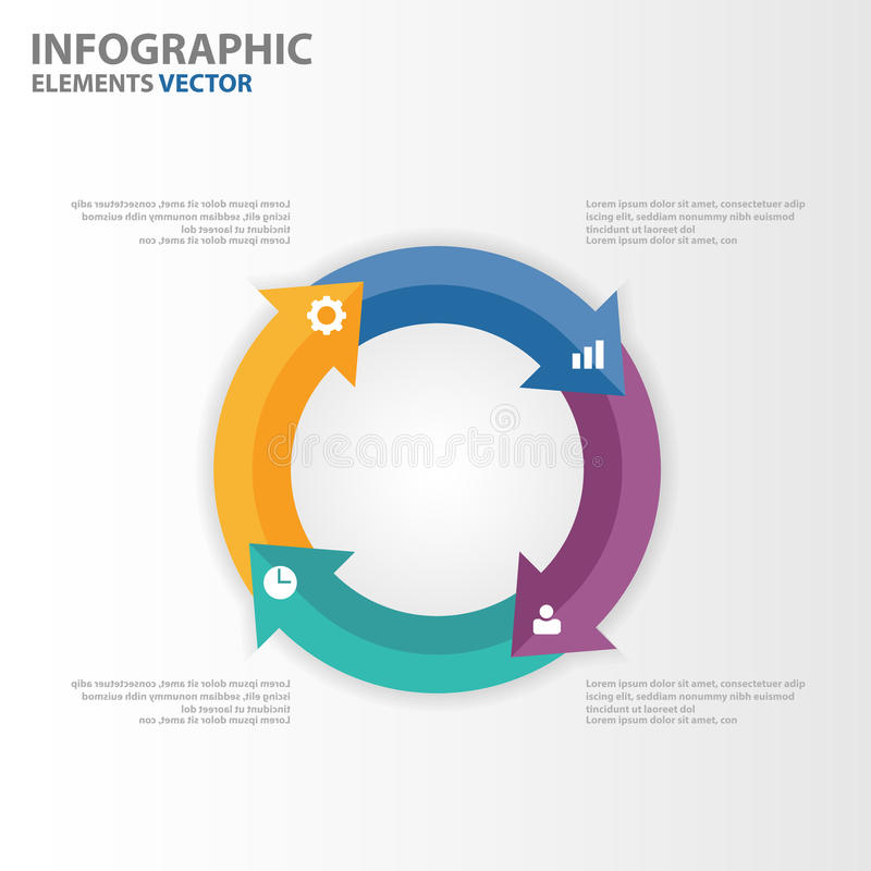 Färgrika mallar för presentation för cirkelpilInfographic beståndsdelar sänker designuppsättningen för marknadsföring för broschy vektor illustrationer