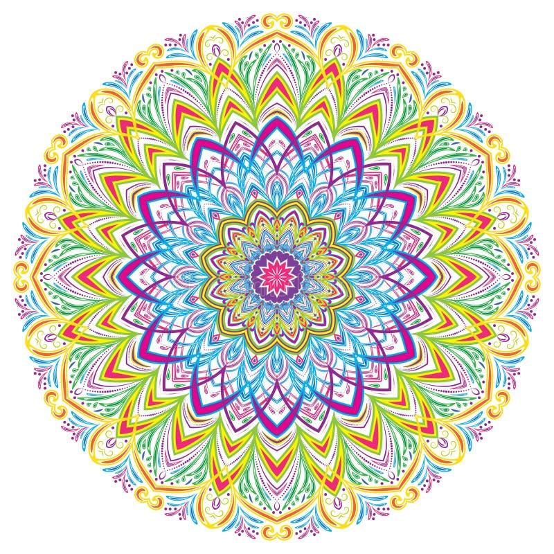 Färgrika Mandala Vintage dekorativa beståndsdelar, vektorillustration vektor illustrationer