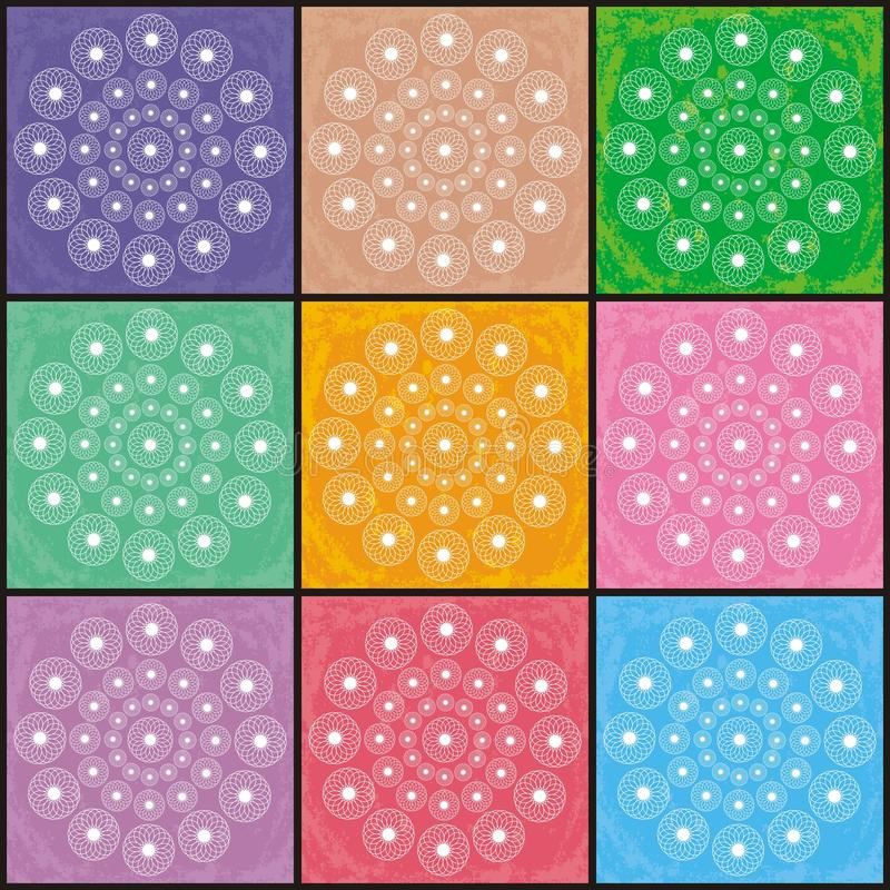 Färgrika mandalas stock illustrationer