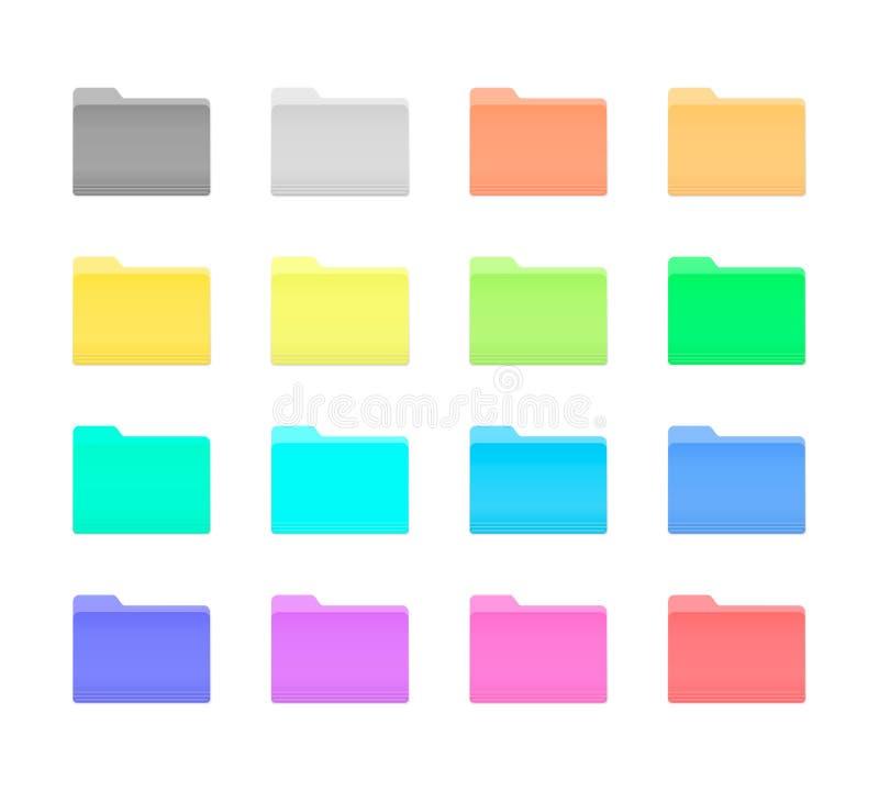 Färgrika mappsymboler vektor illustrationer