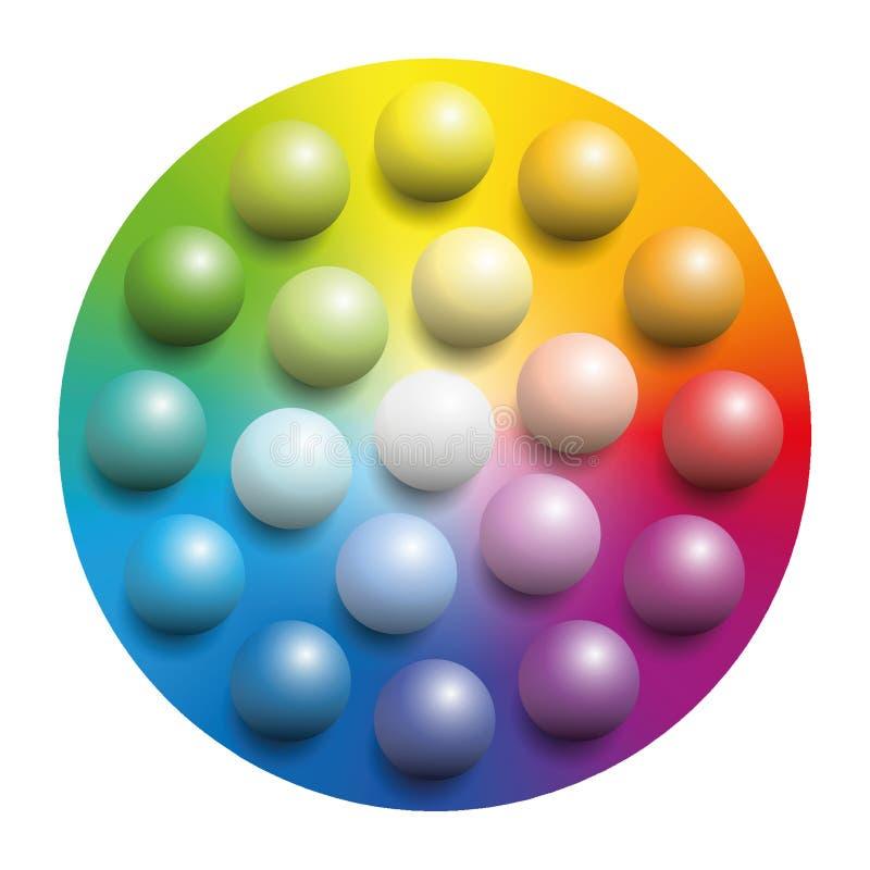 Färgrika marmor för färgspektrum vektor illustrationer