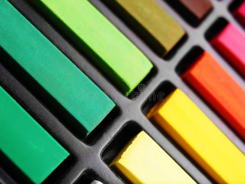 färgrika material pastell för konst royaltyfria bilder
