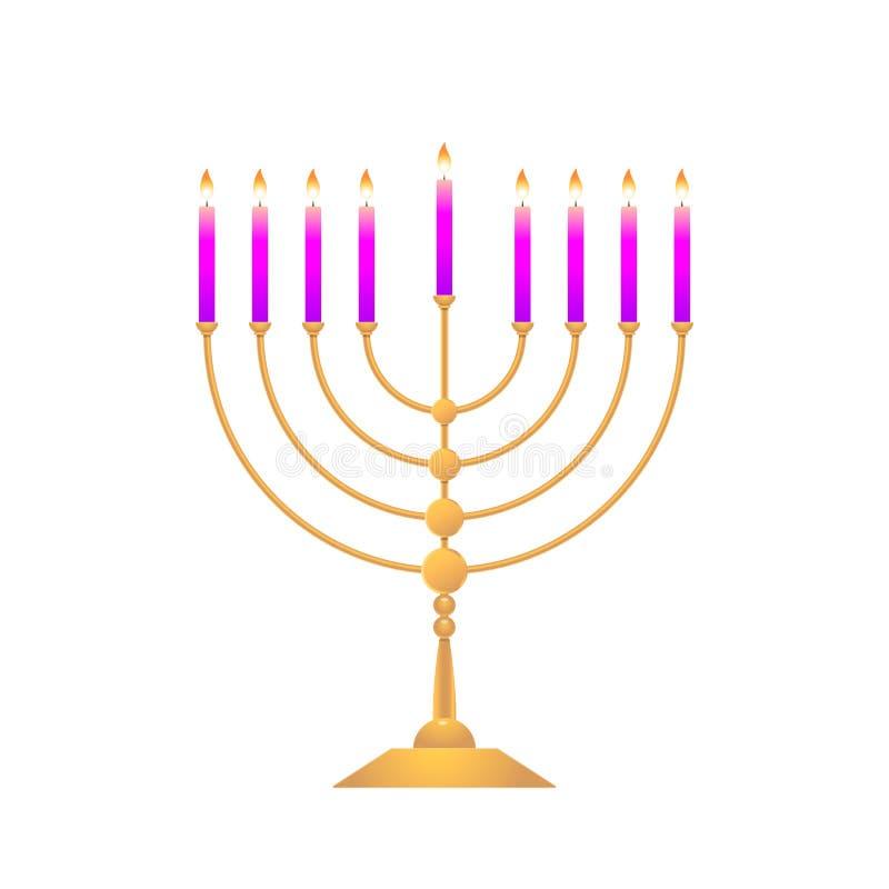 Färgrika menoror för ferie av Chanukkah på vit bakgrund stock illustrationer