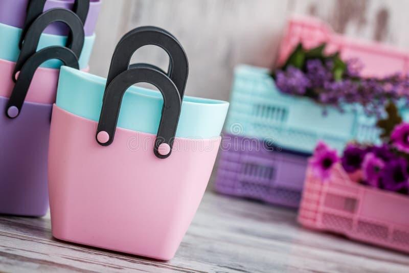 Färgrika Mini Decorative Plastic Bags för hushållbruk royaltyfria foton