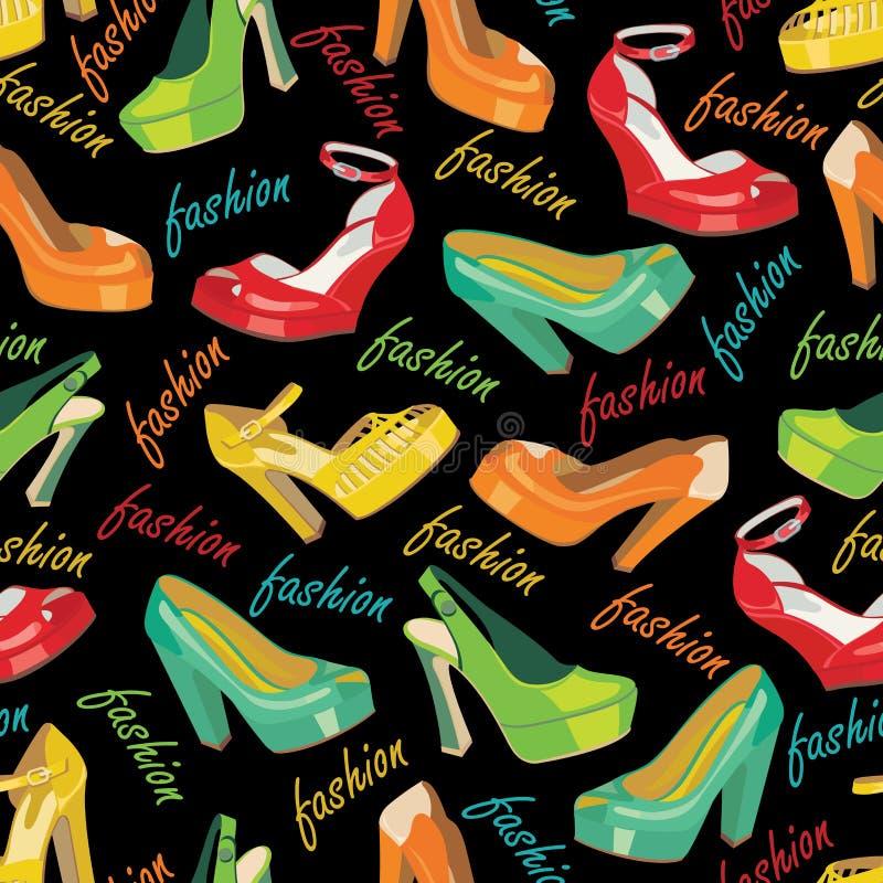 Färgrika modekvinnors skor i sömlös modell. royaltyfri illustrationer