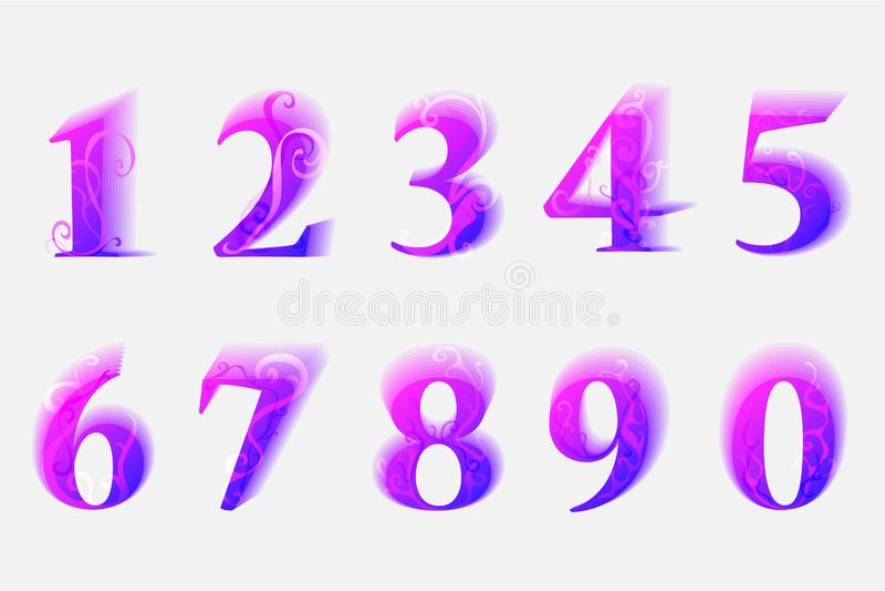 Färgrika moderna nummer från 0 till 9 med vårprydnaden stock illustrationer