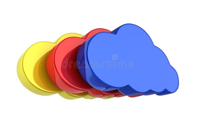Färgrika moln för molnteckenillustration i blått på vit bakgrund 3d stock illustrationer