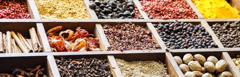 Färgrika mosaikkryddor för samling i träask Sortiment av smaktillsatsen som lagar mat ingrediensen Krydda bakgrundsbanret fotografering för bildbyråer