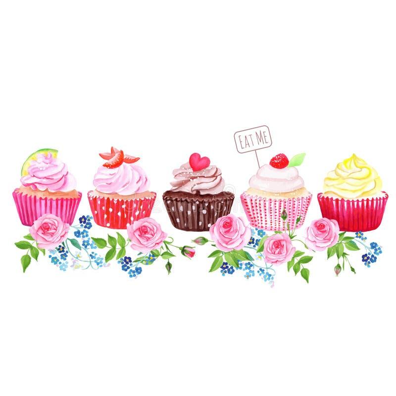 Färgrika muffin med bandet för blommavektordesign vektor illustrationer