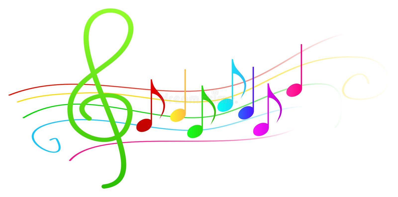 Färgrika musikaliska anmärkningar på notsystem vektor illustrationer