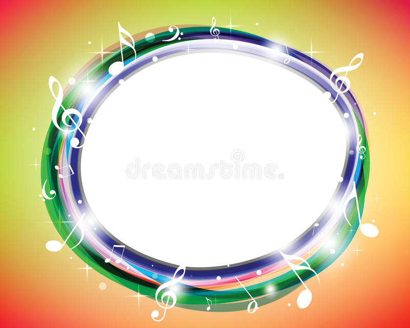 färgrika musikanmärkningar royaltyfri illustrationer