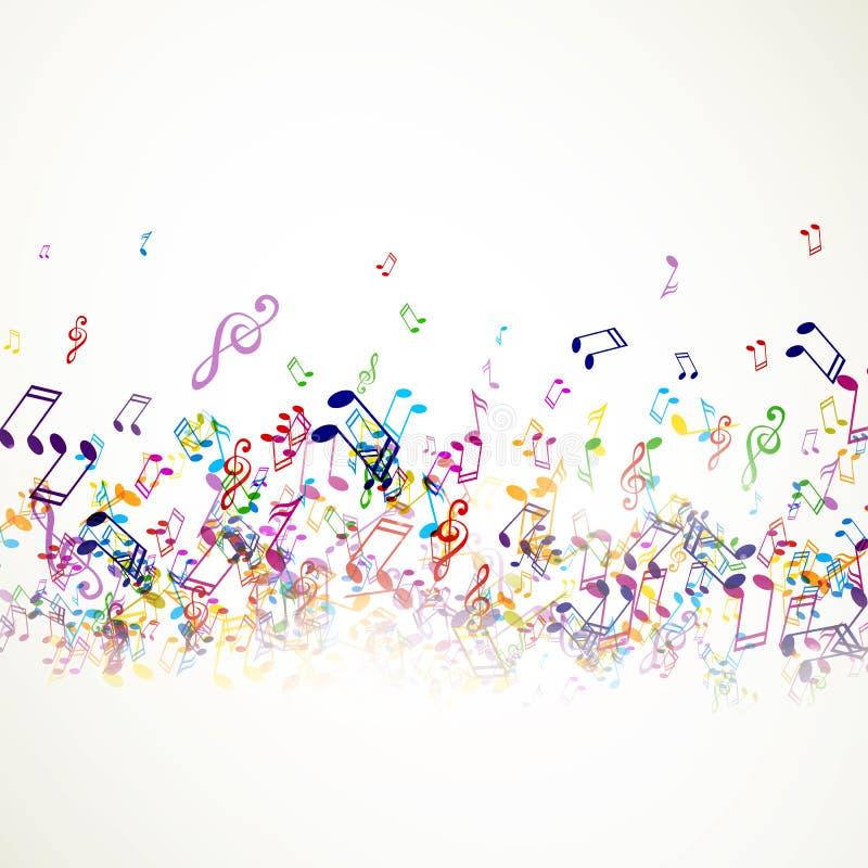 färgrika musikanmärkningar stock illustrationer