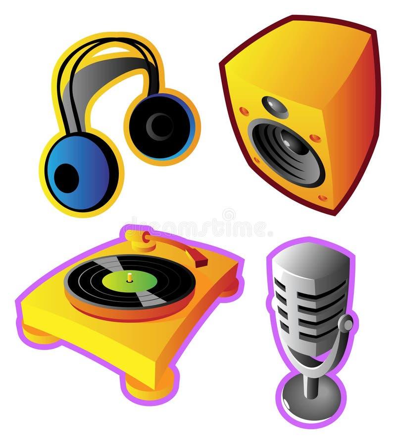 färgrika musikljudvektorer royaltyfri illustrationer