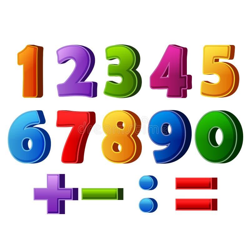 Färgrika nummer och matematiska operationer stock illustrationer