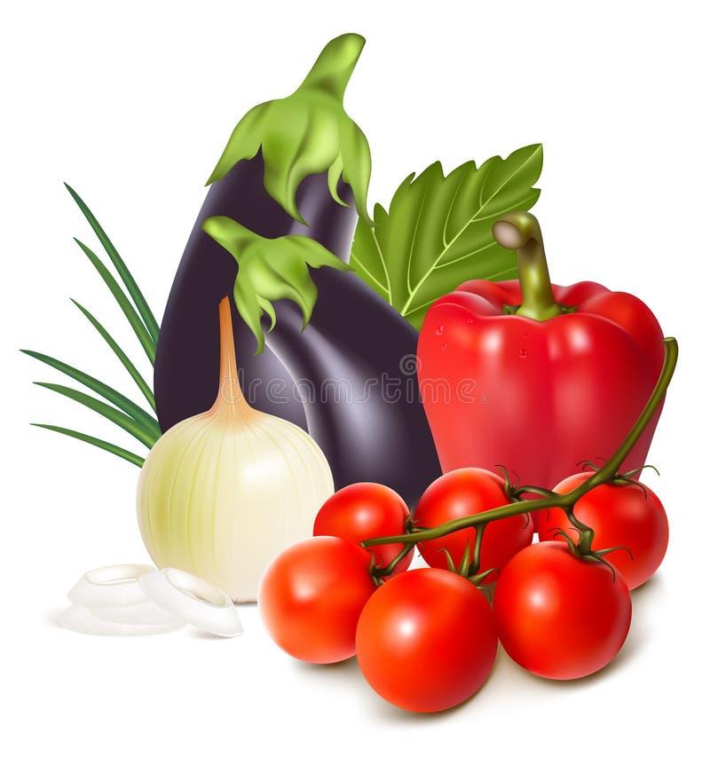 färgrika nya gruppgrönsaker vektor illustrationer