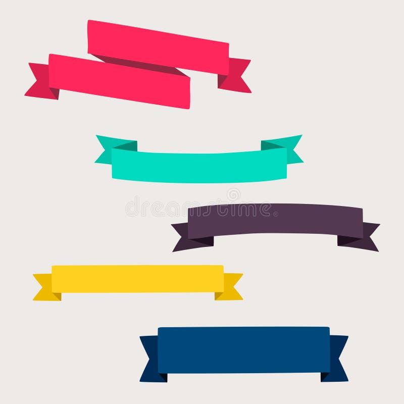 Färgrika och dekorerade pappers- baner royaltyfri illustrationer